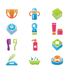 Babys things icon set vector