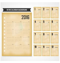 Calendar for 2016 on background vector