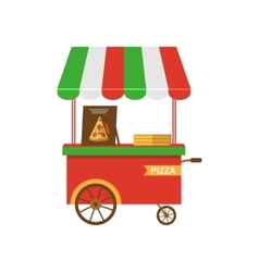 Cart of pizza isolated vector