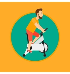 Man riding stationary bicycle vector