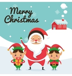 Santa and elf cartoon icon merry christmas vector