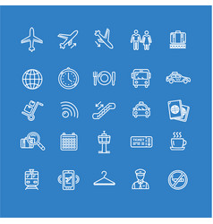 Airport outline icon set vector
