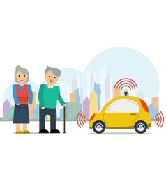 Autonomous car for elderly couple vector