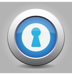Blue metal button with keyhole vector