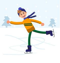 Boy figure skating outdoor vector