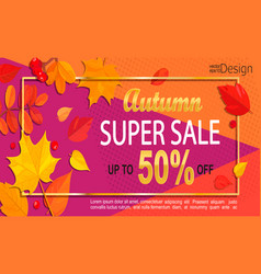 Bright geometric golden autumn super sale banner vector