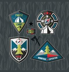 Camping and hiking badges vector