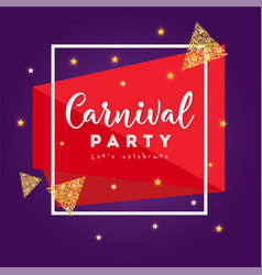 Carnival party greeting card with stars firework vector