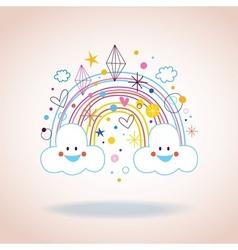 Cartoon rainbow clouds hearts diamonds vector
