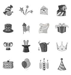 Celebration icons set black monochrome style vector