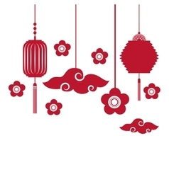 Chinese lanterns decorations vector