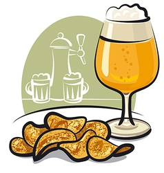 Chips with beer vector