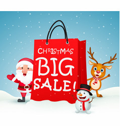 christmas big sale with santa and friends vector image