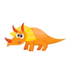 cute and funny smiling baby triceratops dinosaur vector image vector image