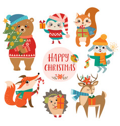 cute christmas greetings vector image vector image