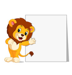 cute lion with blank sign vector image