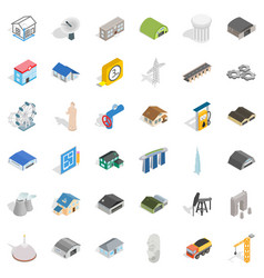 Engineering icons set isometric style vector