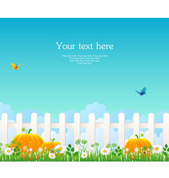 fence with grass pumpkin vector image vector image