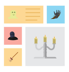flat icon halloween set of candlestick spirit vector image vector image