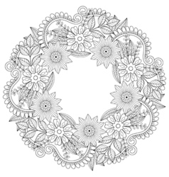Floral doodles wreath in zentangle style circle vector image vector image