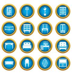 furniture icons blue circle set vector image