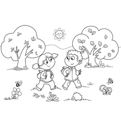 Girl and boy walking vector image