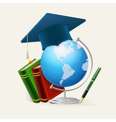 Graduation cap stack of books globe and pen vector image vector image