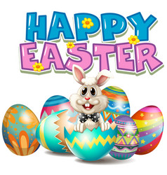 Happy easter with bunny in egg vector