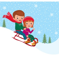 Kids sledding vector image
