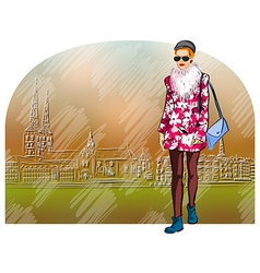 Lady strolling the streets vector