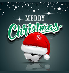 merry christmas santa hat on soccer ball vector image