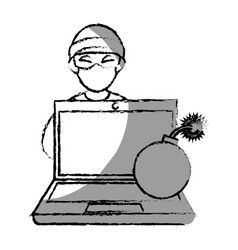 monochrome blurred contour with hacker and laptop vector image