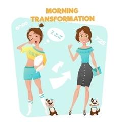 Morning girl transformation poster vector