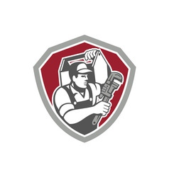 Plumber Carry Toolbox Wrench Shield Retro vector image
