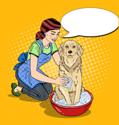 pop art happy woman washing labrador vector image vector image