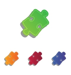 Puzzle piece sign colorfull applique icons set vector