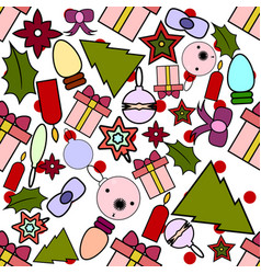 seamless pattern for christmas and new year vector image vector image