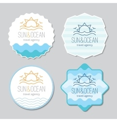 Stickers with sun and waves logo vector