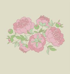 Tender peony flower vector