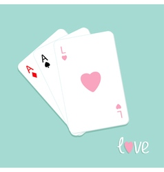 Three card stuck love pink Flat vector image vector image