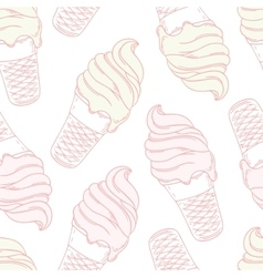 Twisted ice cream in a waffle cone stylized vector