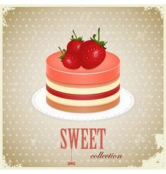 vintage sponge cake vector image vector image