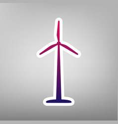 Wind turbine logo or sign purple gradient vector
