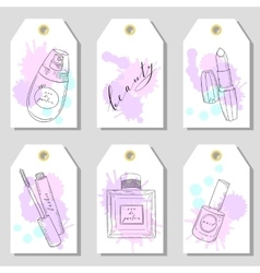Hand drawn cosmetics set of gift tags beauty and vector