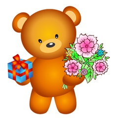 Bear with flowers vector