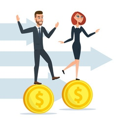 Girl and a man traveling businessmen on coins vector
