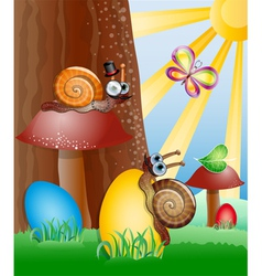 Easter picture with snails vector