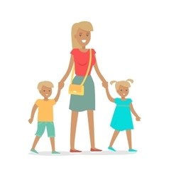 Woman and two children isolated on white vector