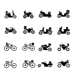 Motorcycle and bicycle transport icons vector
