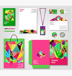 Floral corporate identity templates set vector